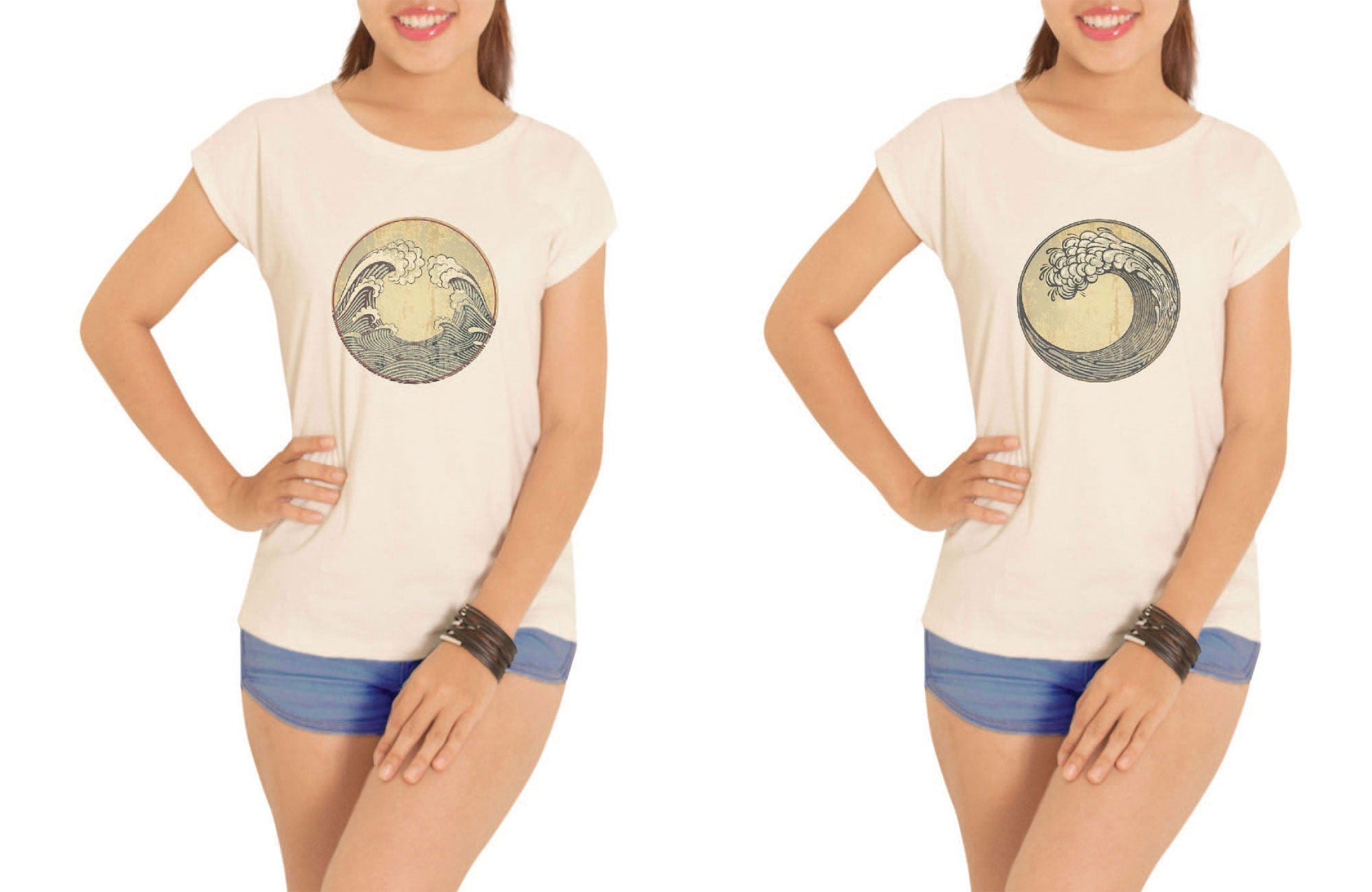 Women Ocean Waves Printed Cotton Short Sleeves T- Shirt WTS_02