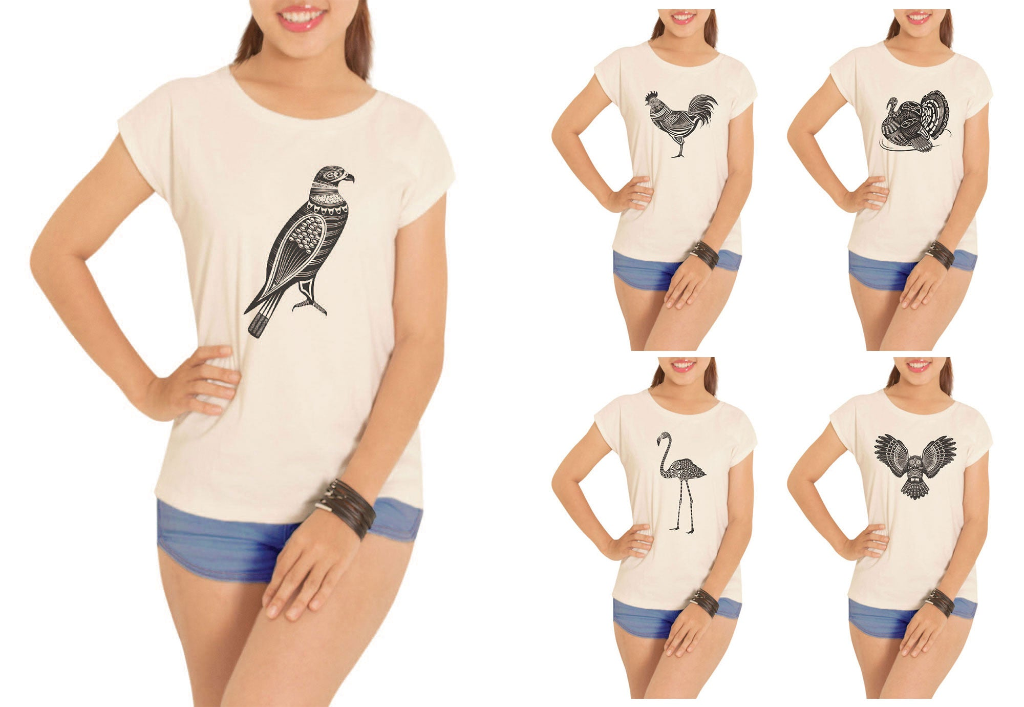 Women Birds-1 Printed Cotton Short Sleeves T- Shirt WTS_02