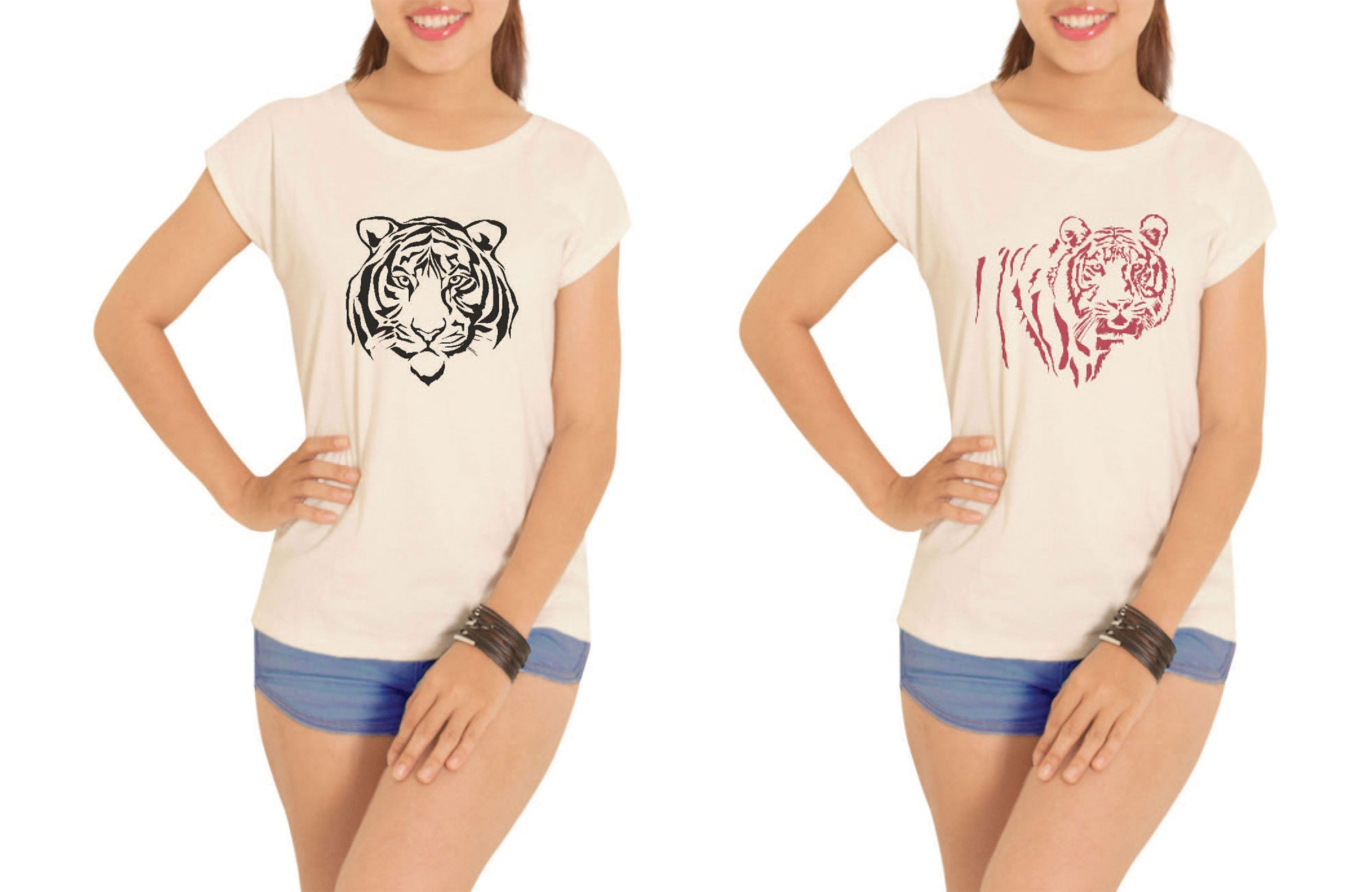 Women Tiger Printed Cotton Short Sleeves T- Shirt WTS_02
