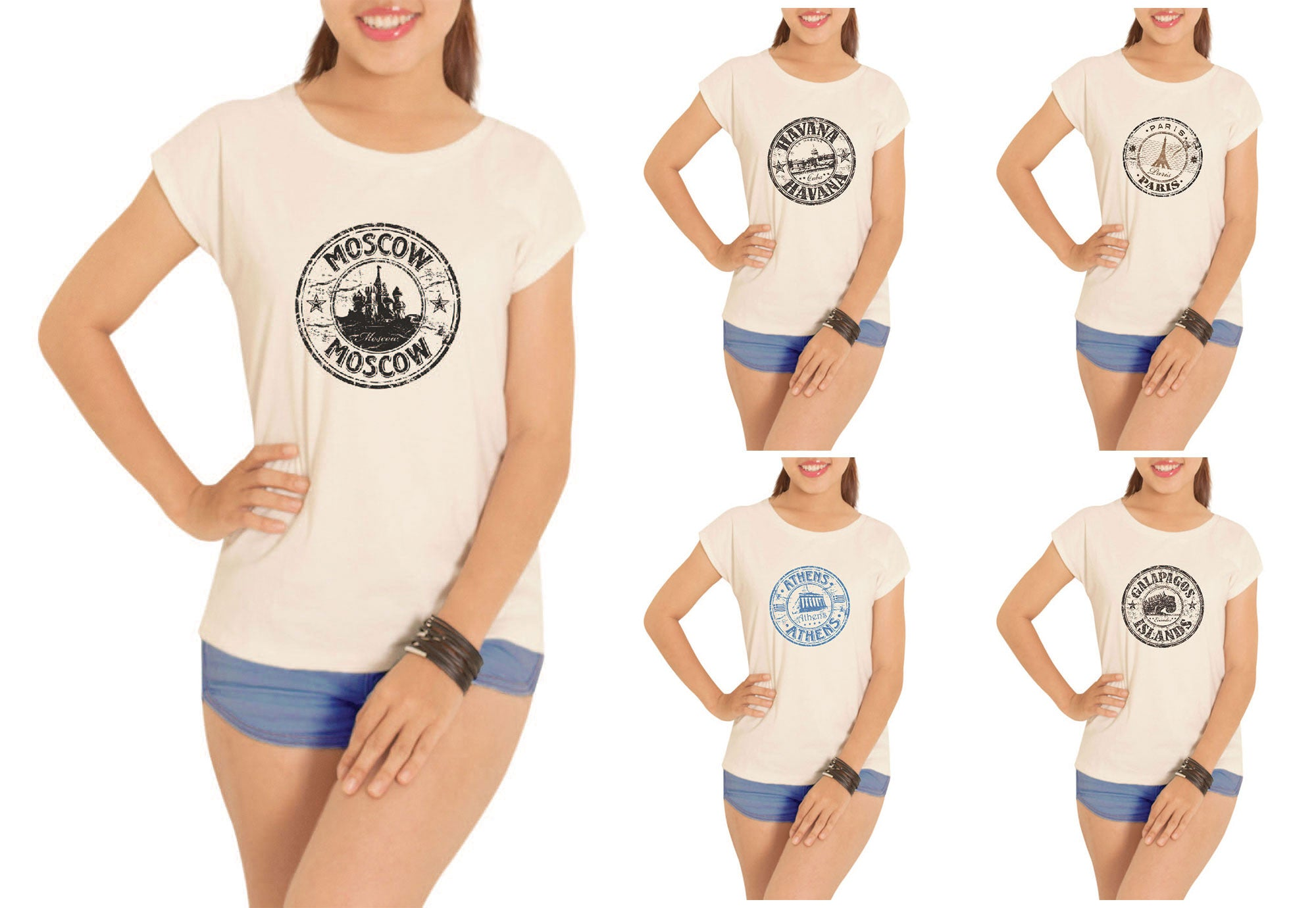 Women Stamps of countries-2 Printed Short Sleeves T- Shirt WTS_02