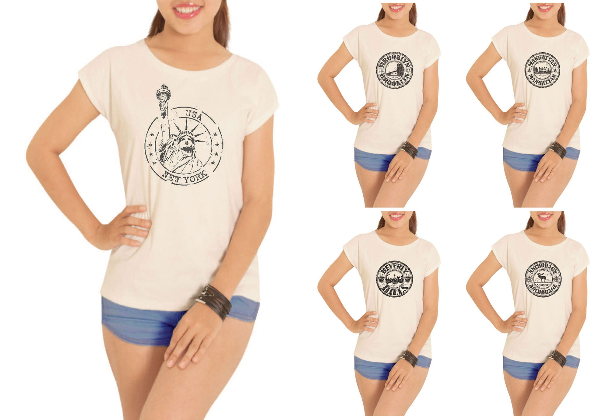 Women Stamps of famous Cities Printed Short Sleeves T- Shirt WTS_02