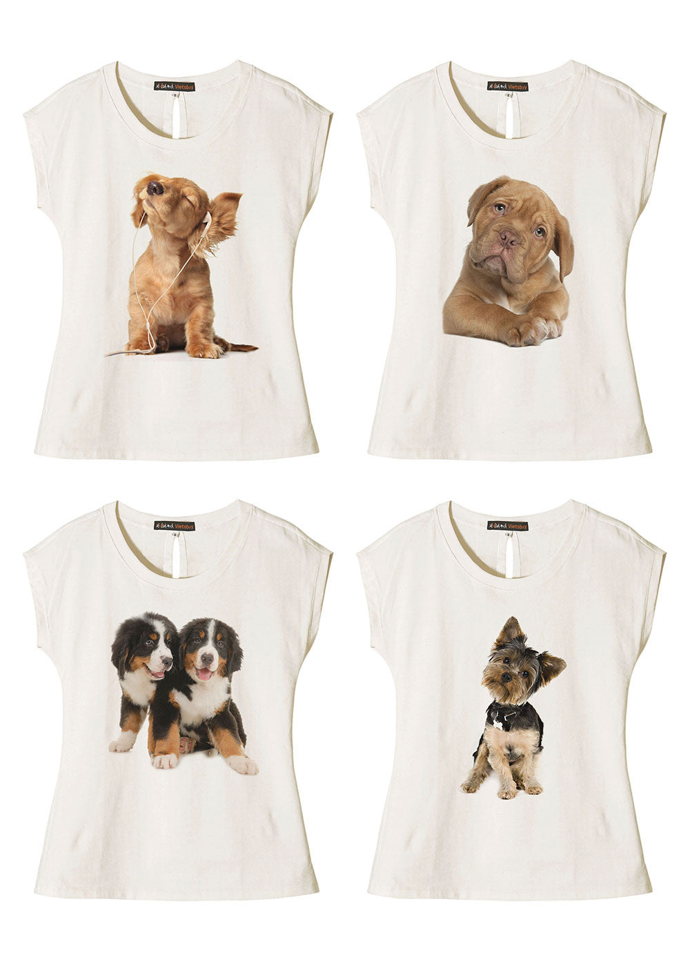 Women Dogs-6 Printed Cotton Short Sleeves T- Shirt WTS_02