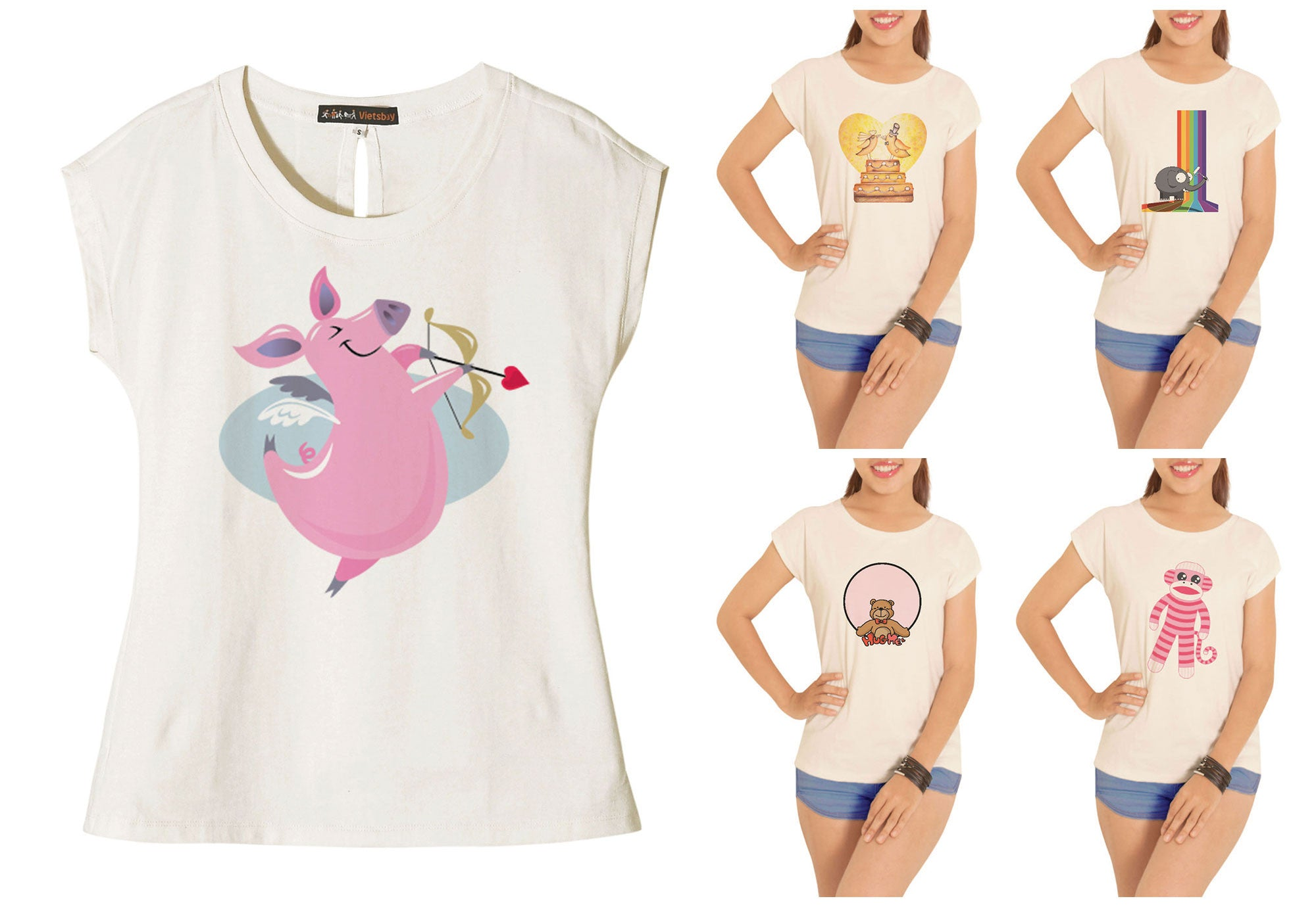 Women Cute Animals Printed Cotton Short Sleeves T- Shirt WTS_02
