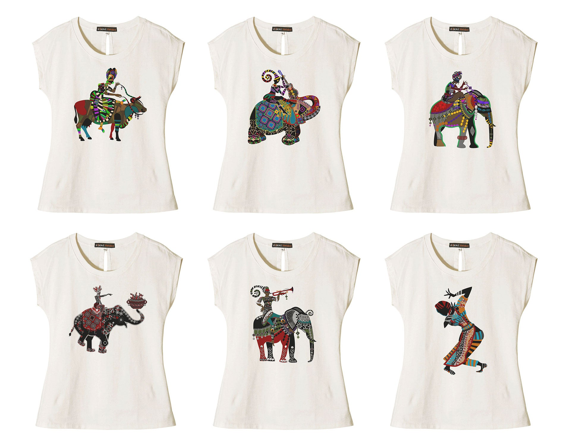 Women Africa Culture Printed Cotton Short Sleeves T- Shirt WTS_02