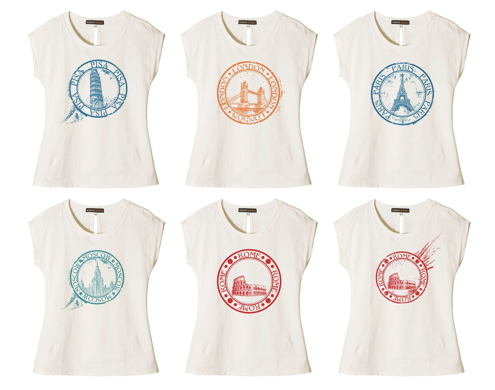 Women Stamp of Cities Printed Cotton Short Sleeves T- Shirt WTS_02