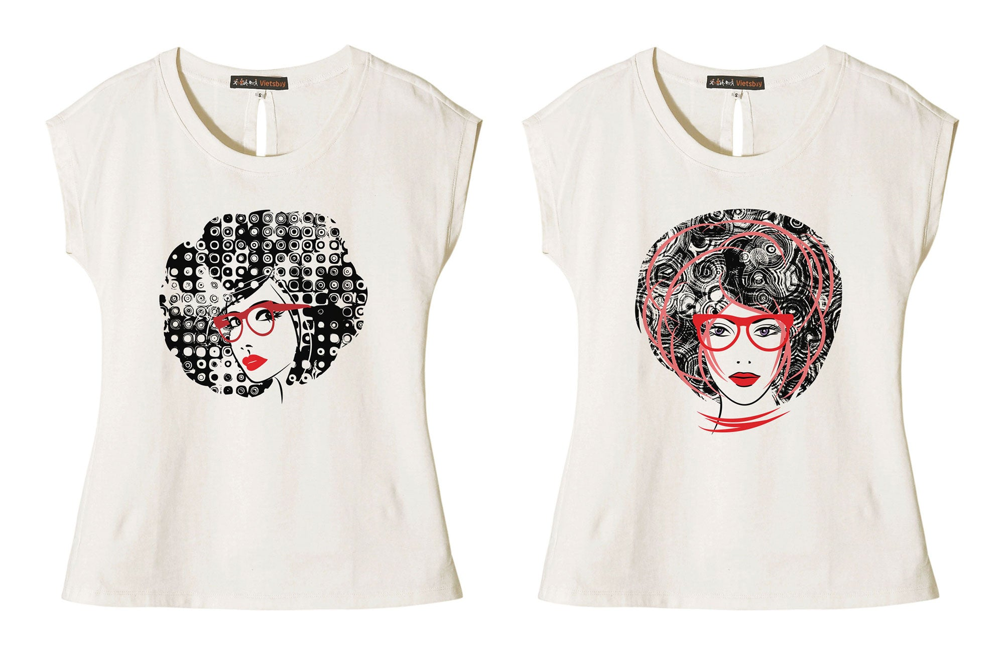 Women Art Sketching Girl Face Printed Short Sleeves T- Shirt WTS_02