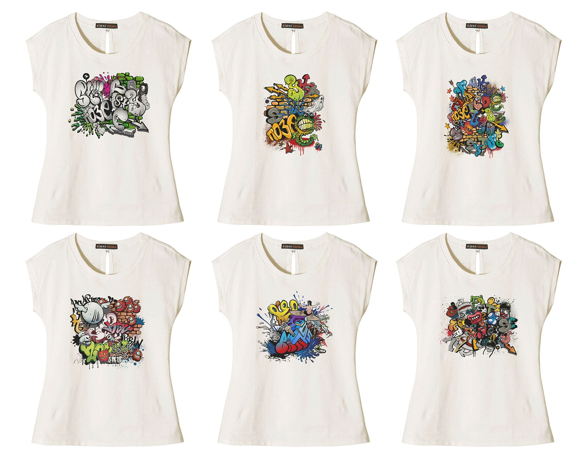 Women Graffiti Printed Cotton Short Sleeves T- Shirt WTS_02