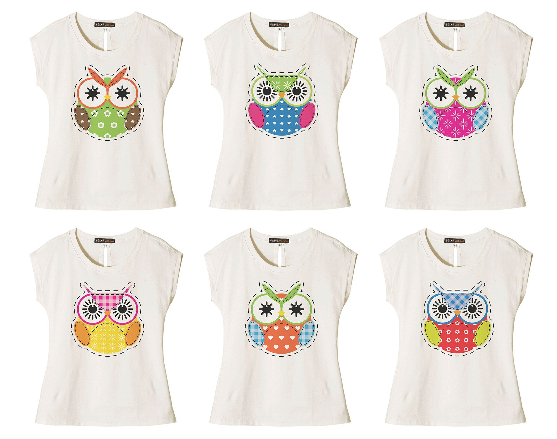 Women Cute Owl-7 Printed Cotton Short Sleeves T- Shirt WTS_02