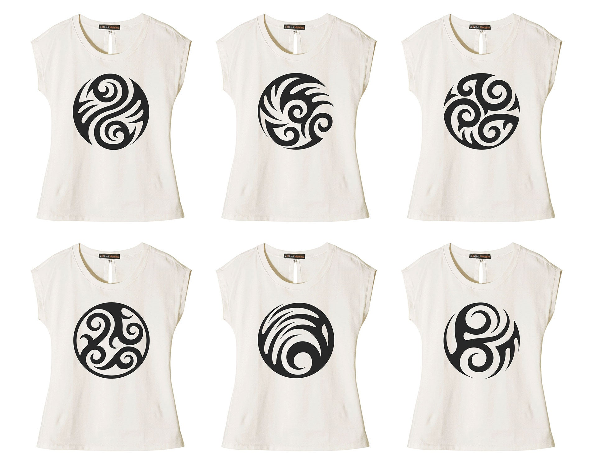 Women Round Tattoo Printed Cotton Short Sleeves T- Shirt WTS_02