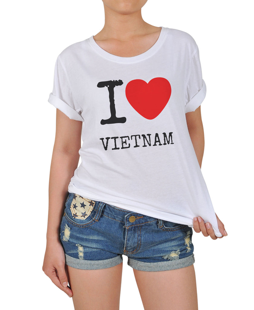 Womens Love Vietnam Printed Cotton T Shirt Wts12 Vietsway