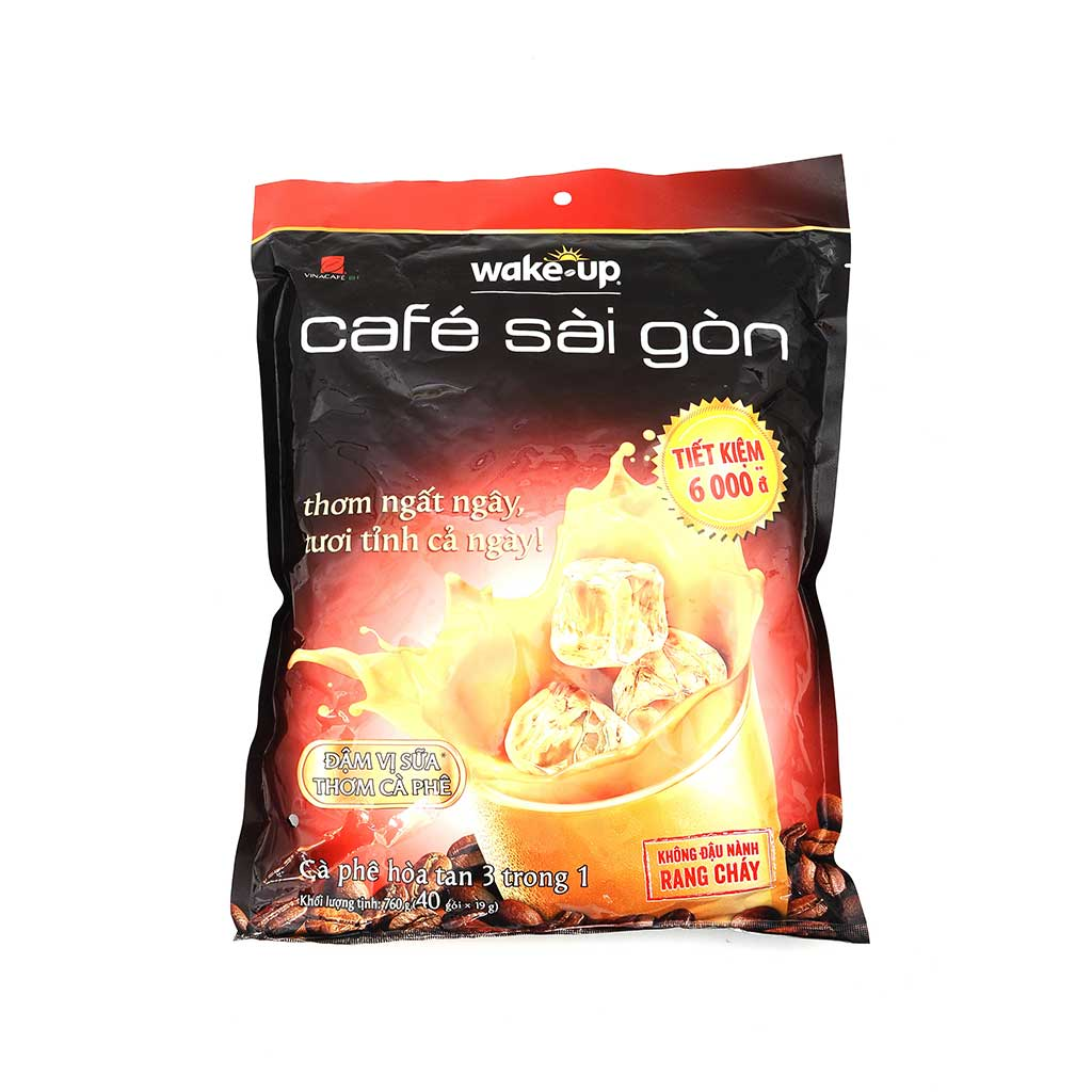 3 in1 Vietnamese Coffee Wake Up VinaCafe 40 Bags x 19 gr Instant Coffee Mix