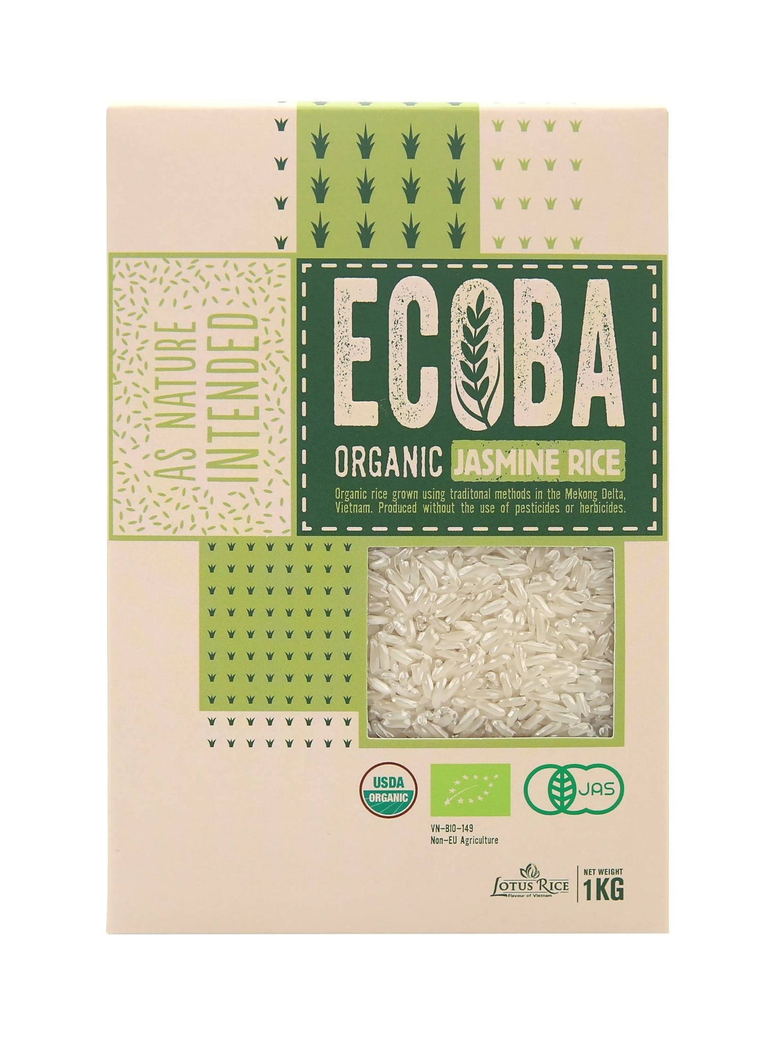 ECOBA Organic Long Grain Jasmine Rice, 35oz (1.000g) - Vietnam Delecious Rice, Finest Natural, 3 Organic Certifications USDA - JAS - EU