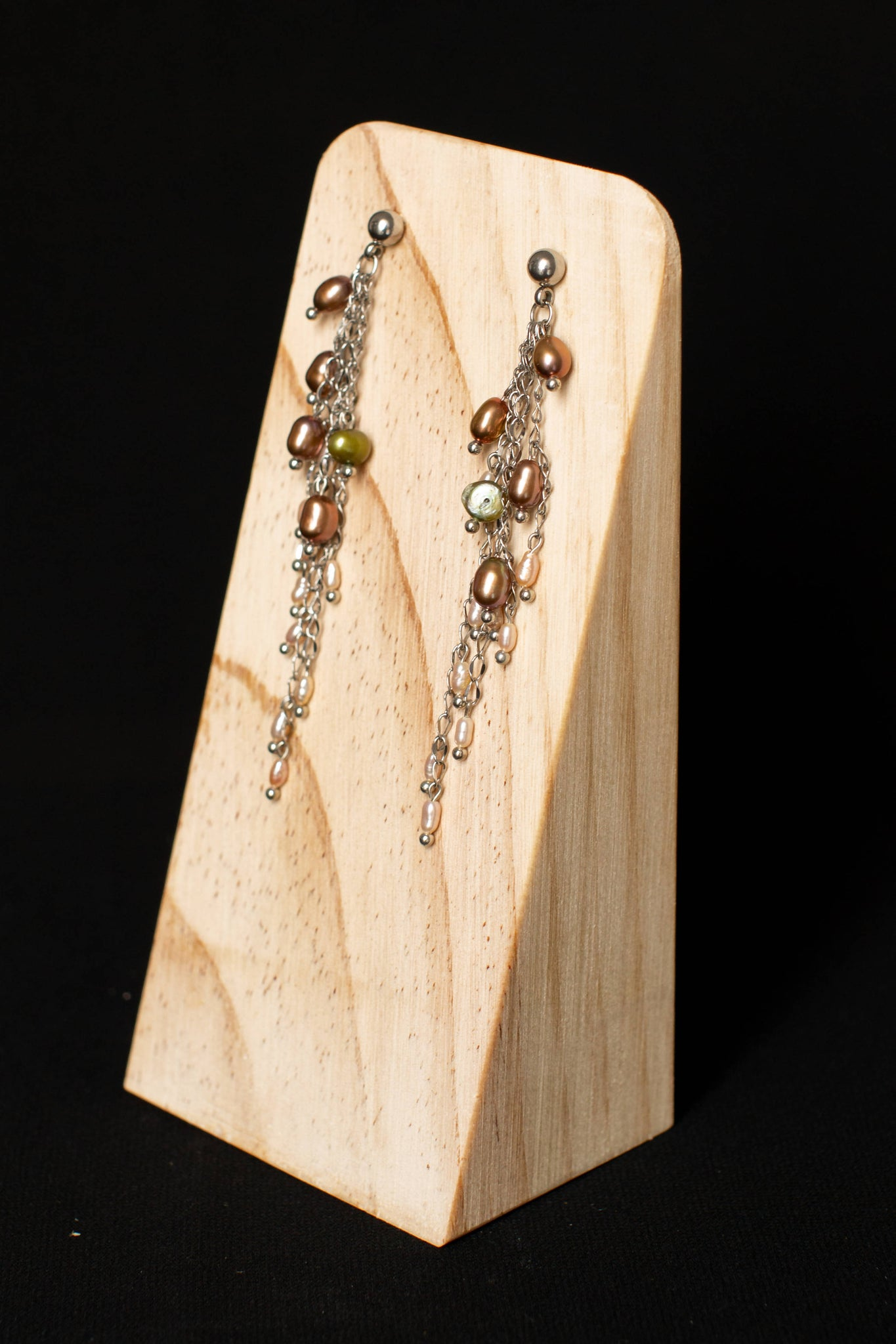 Triangle wooden earring stand