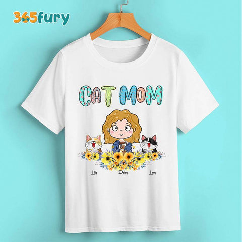 Personalized cat mom T shirt