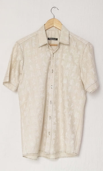 r47 Hand Woven Silk By Cotton Soft Muslin Sari With Japanese Sumi Ink Print | Prajna Paramita Sutra