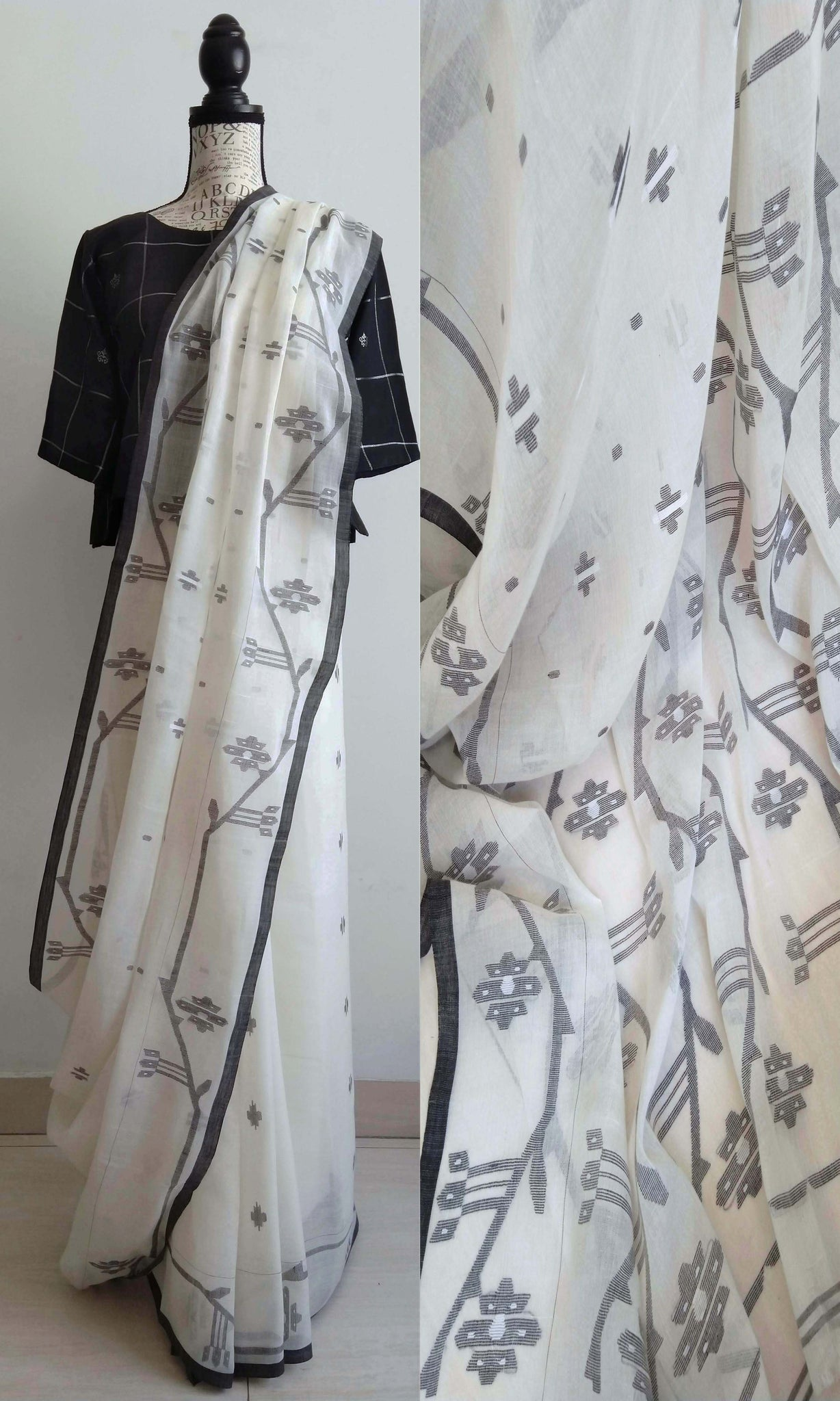 r38b Old Weave Uncut Handwoven Jamdani Sari In Cotton By Cotton Soft Muslin
