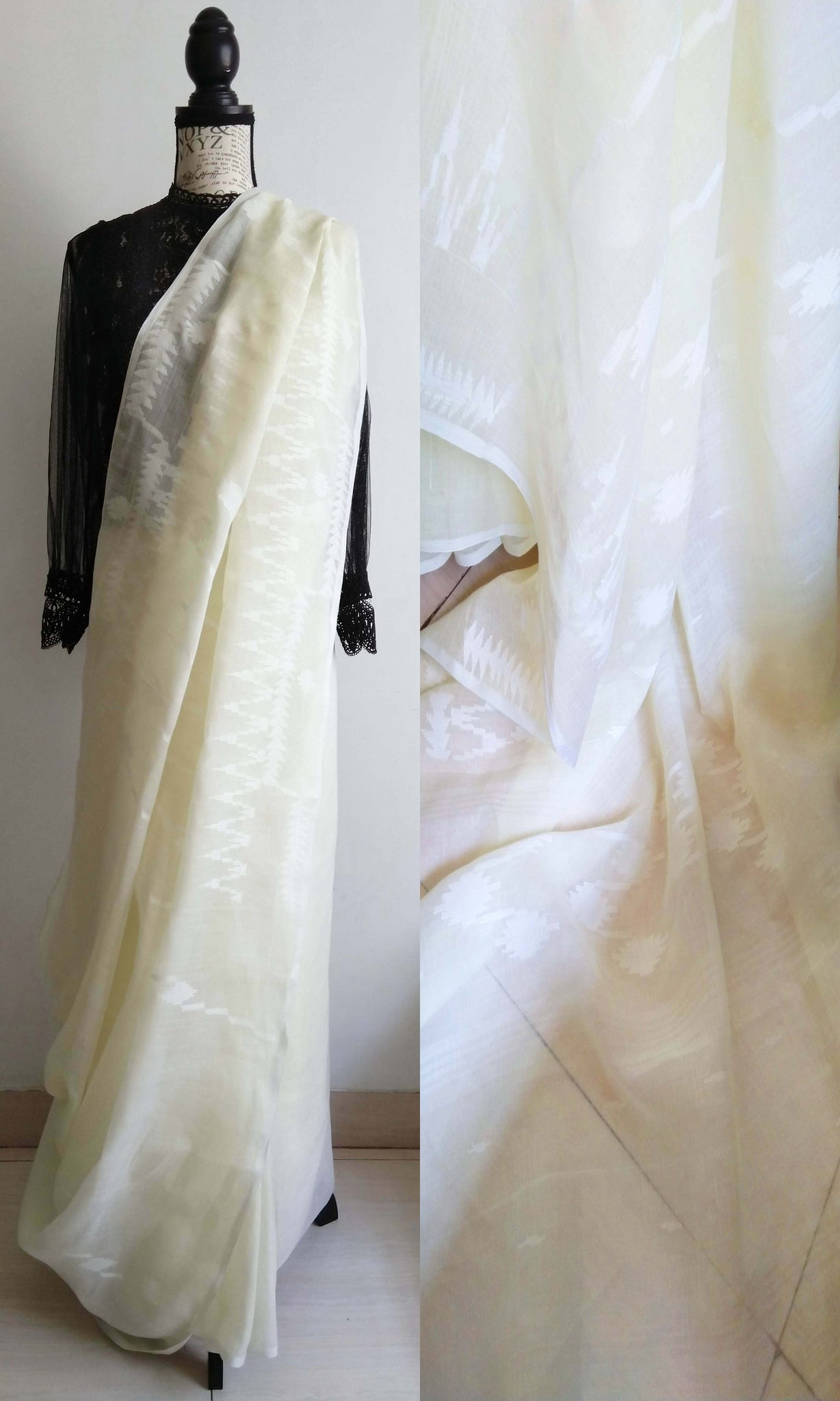 h36 Old Weave Uncut Handwoven Jamdani Sari In Cotton By Cotton Soft Muslin