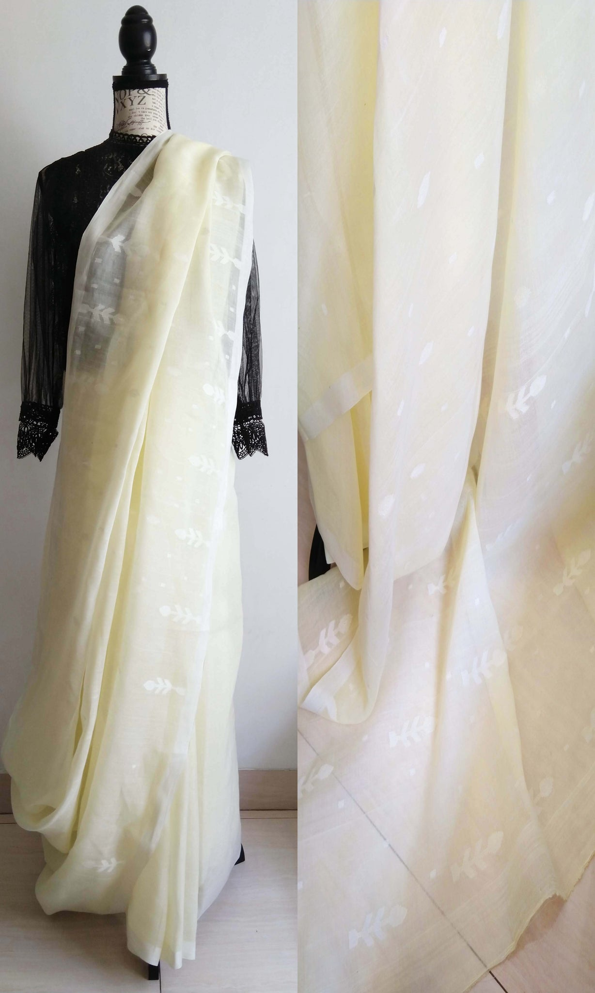 h38 Old Weave Uncut Handwoven Jamdani Sari In Cotton By Cotton Soft Muslin