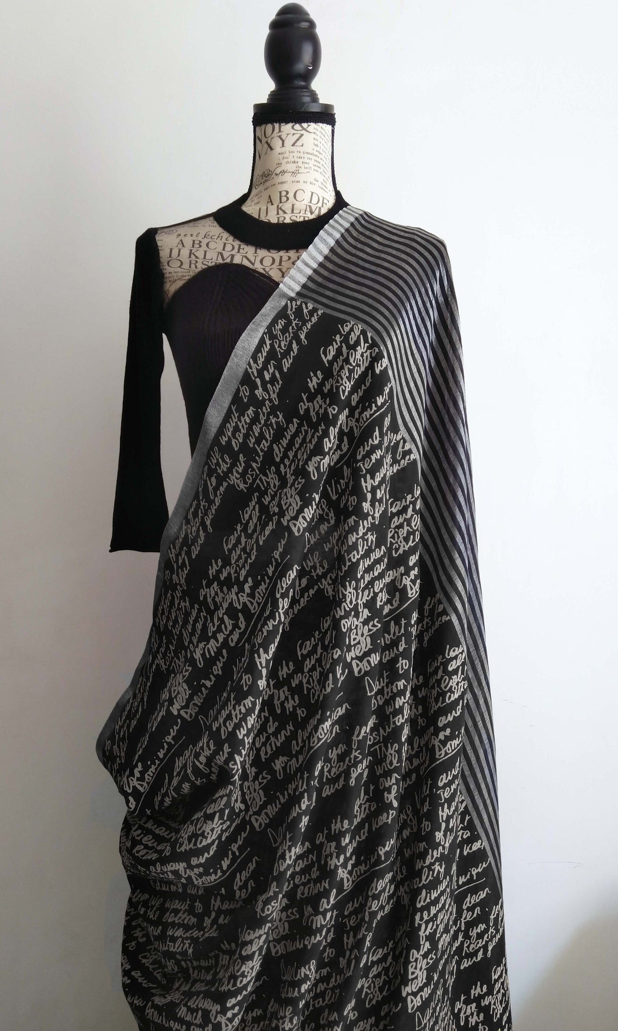 g59 Lapierre's Letter Sari I Hand Woven & Screen Printed Soft Muslin Cotton-By-Cotton