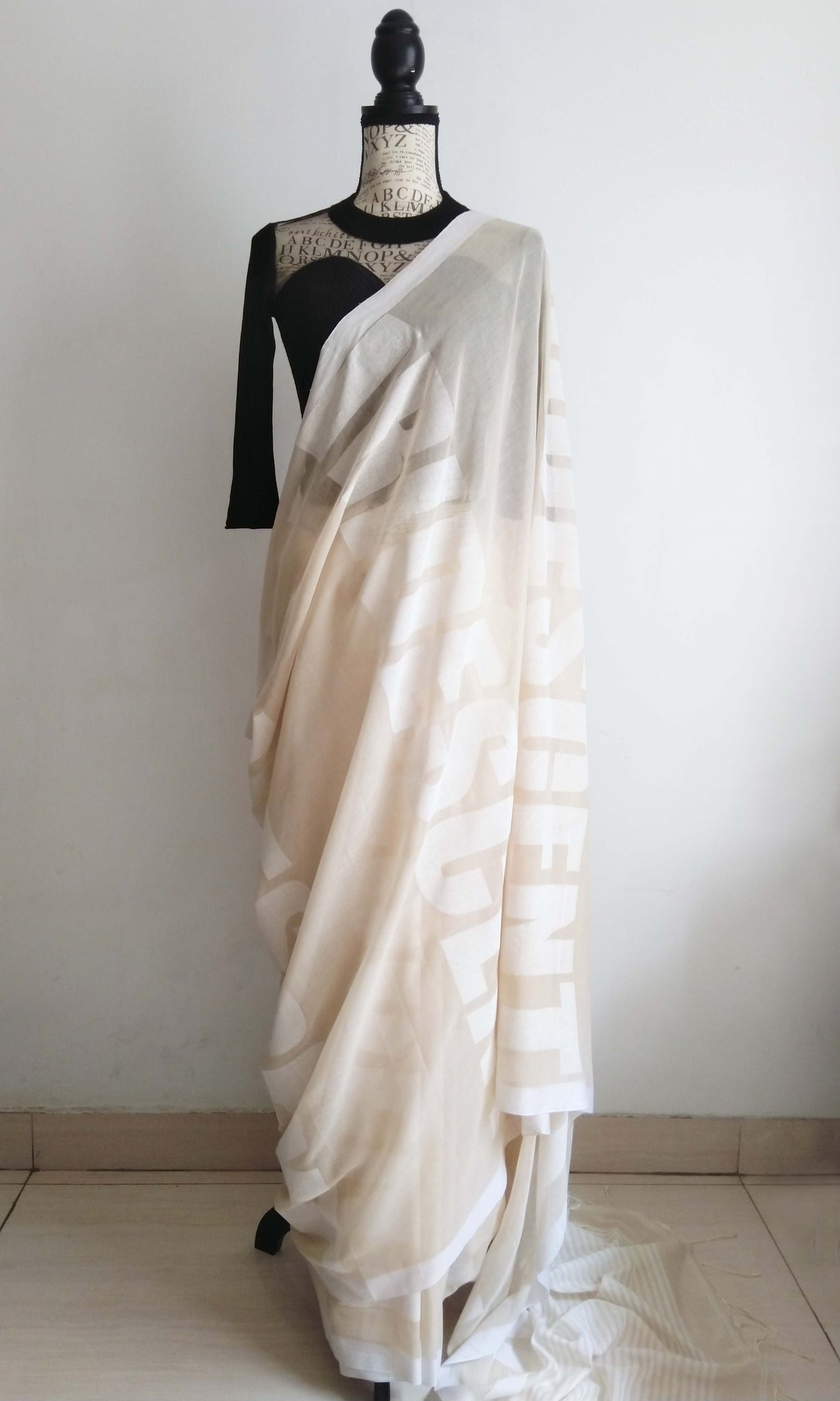 f29 Macro Font Sari I Hand Woven &  Screen Printed Soft Muslin Cotton-By-Cotton