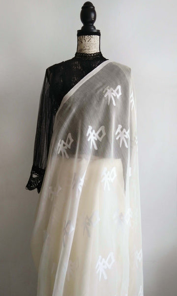f01 Japanese Peace Symbol Sari I Hand Woven Soft Muslin Silk-By-Cotton