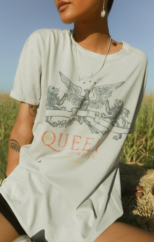 Queen Of Beers Oversized Tee - Star Dust by The Laundry Room
