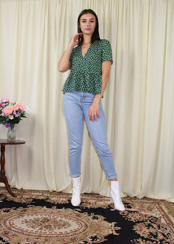 Green ditsy floral top