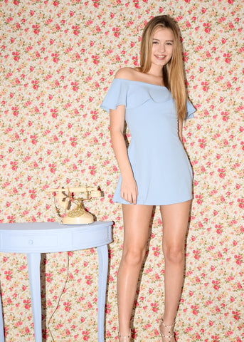 Powder blue off the shoulder dress