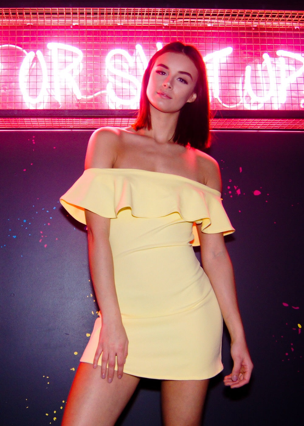 Lemon yellow off the shoulder dress