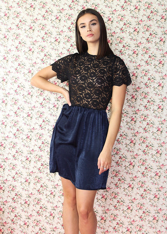 Black lace dress with navy skirt