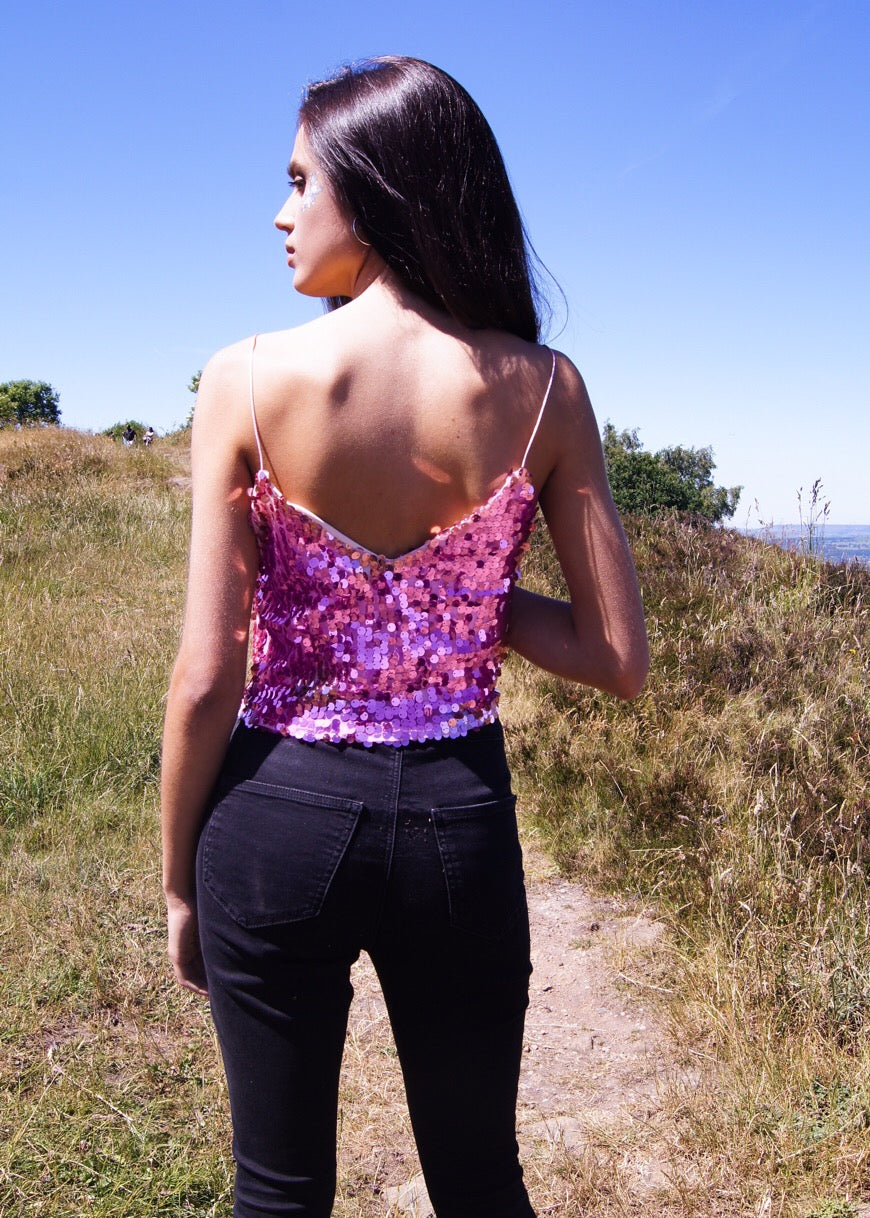Pink sequin top