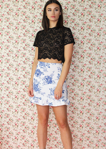 White and blue floral skirt