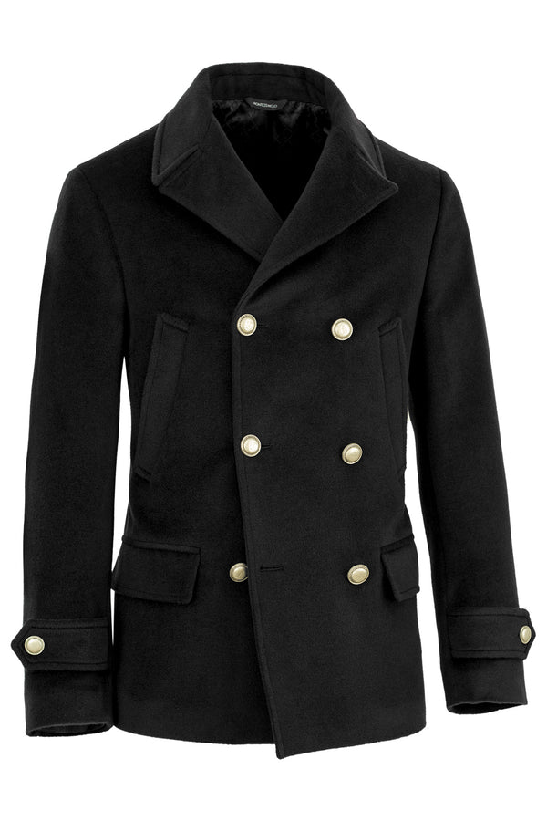 Black Wool & Cashmere Peacoat