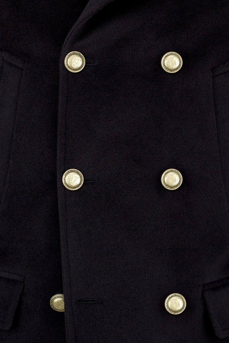 Wool & Cashmere Navy Peacoat