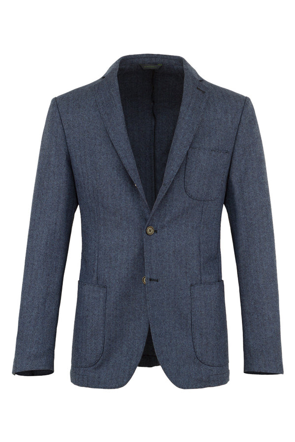 Herringbone Wool Cashmere & Silk Jacket