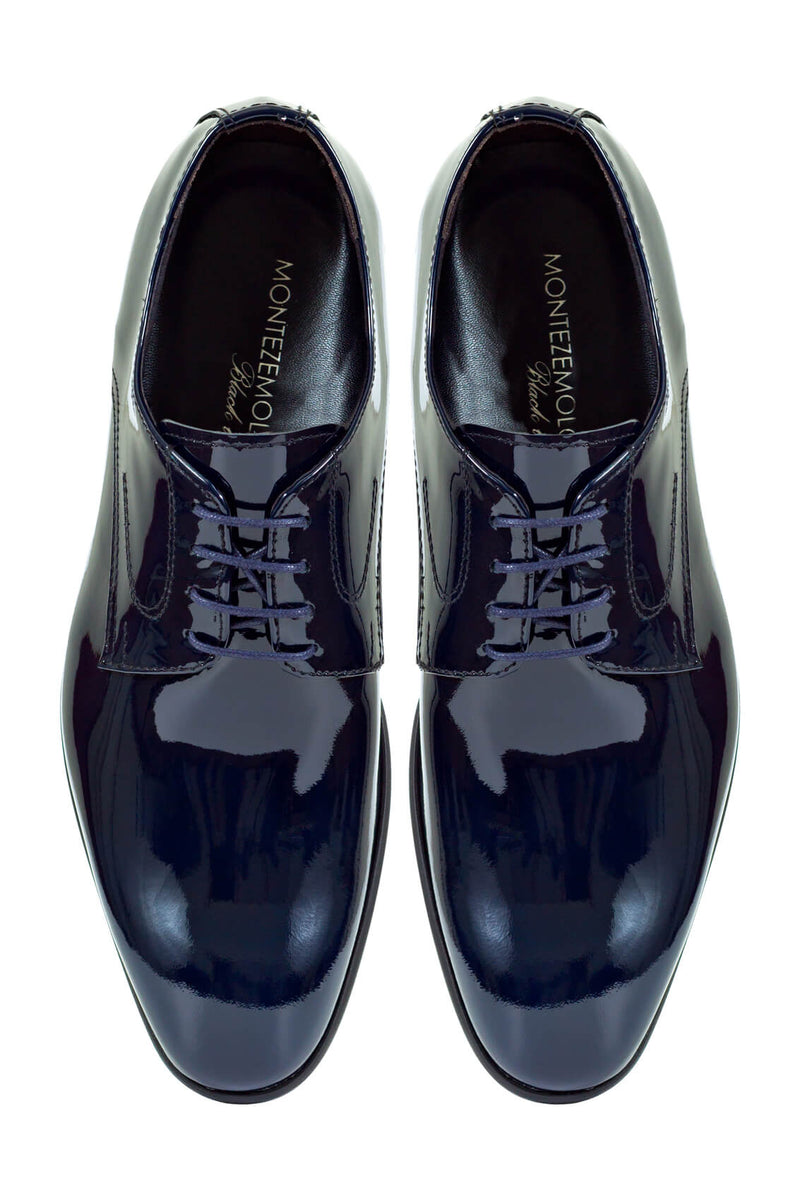 MONTEZEMOLO Men's Clothing - Lace Up Shoes - Blue Patent Leather Shoe - www.montezemolostore.com