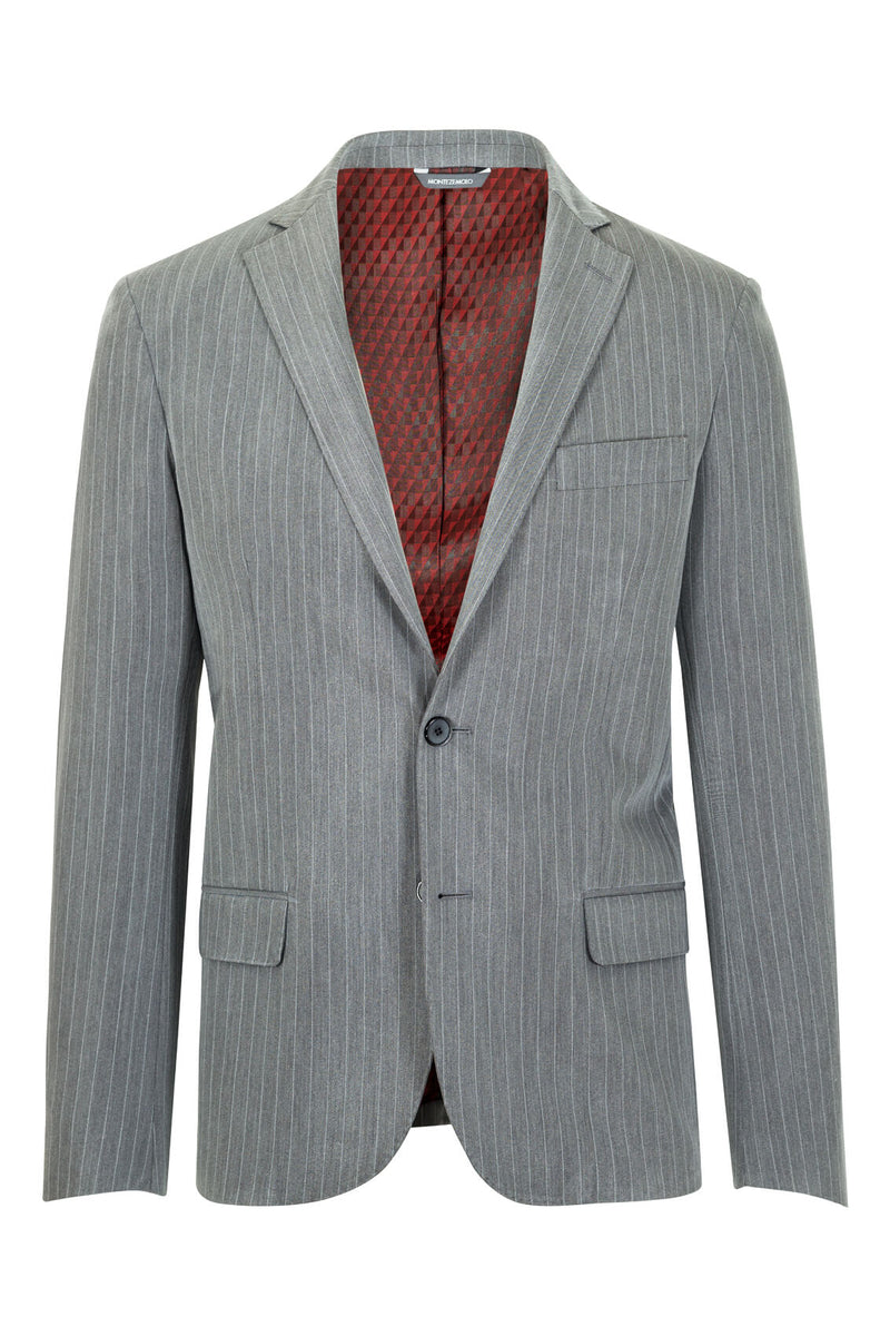 MONTEZEMOLO Men's Clothing - Jackets - Grey Striped Tecno-Silk Blazer - www.montezemolostore.com