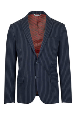 MONTEZEMOLO Men's Clothing - Jackets - Blue Striped Tecno-Silk Blazer - www.montezemolostore.com