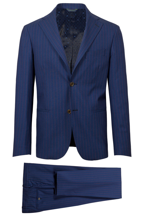 MONTEZEMOLO Men's Clothing - Suits - Blue Pinstriped Loro Piana Fabric Suit - www.montezemolostore.com