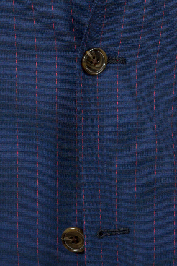 MONTEZEMOLO - Suits - Blue Pinstriped Loro Piana Fabric Suit - MONTEZEMOLO