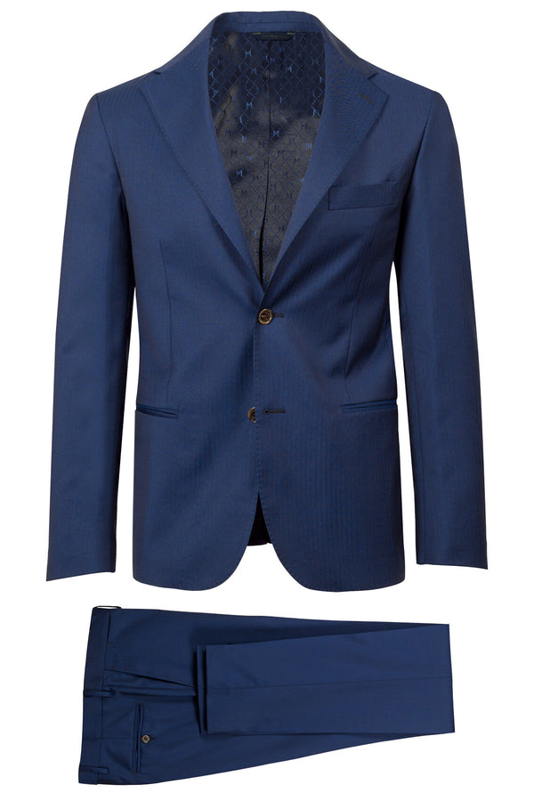 MONTEZEMOLO Men's Clothing - Suits - Blue Herringbone Ermenegildo Zegna Fabric Suit - www.montezemolostore.com