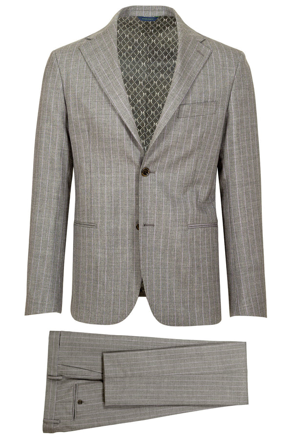 MONTEZEMOLO - Suits - Grey Pinstriped Loro Piana Fabric Suit - MONTEZEMOLO