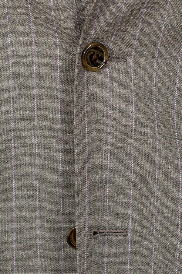 MONTEZEMOLO Men's Clothing - Suits - Grey Pinstriped Loro Piana Fabric Suit - www.montezemolostore.com