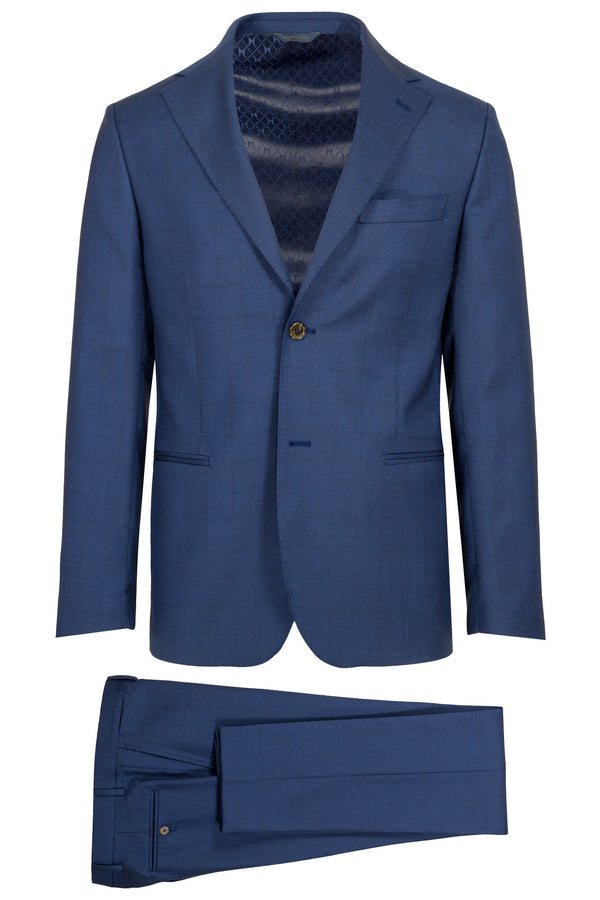 MONTEZEMOLO - Suits - Blue Prince-of-Wales Loro Piana Fabric Suit - MONTEZEMOLO