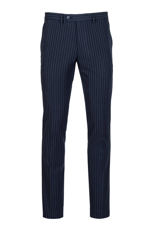 MONTEZEMOLO - Trousers - Blue Striped Tecno-Silk Trousers - MONTEZEMOLO