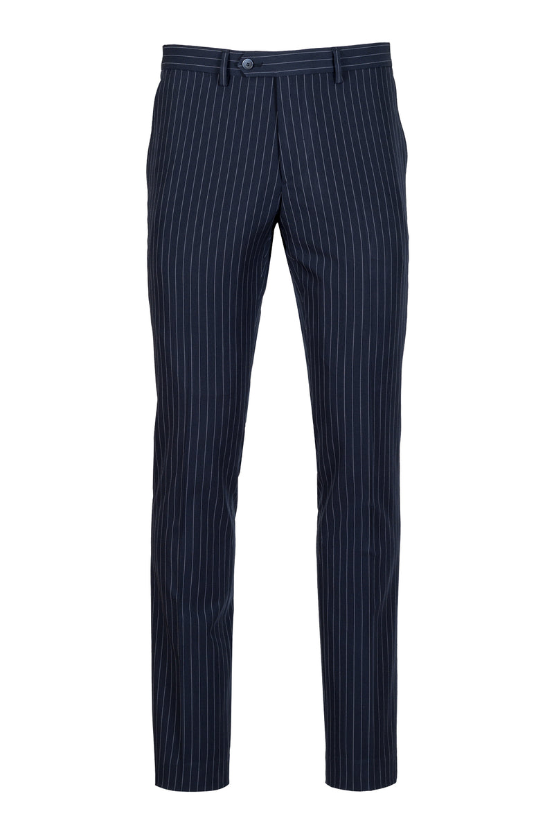 MONTEZEMOLO Men's Clothing - Trousers - Blue Striped Tecno-Silk Trousers - www.montezemolostore.com