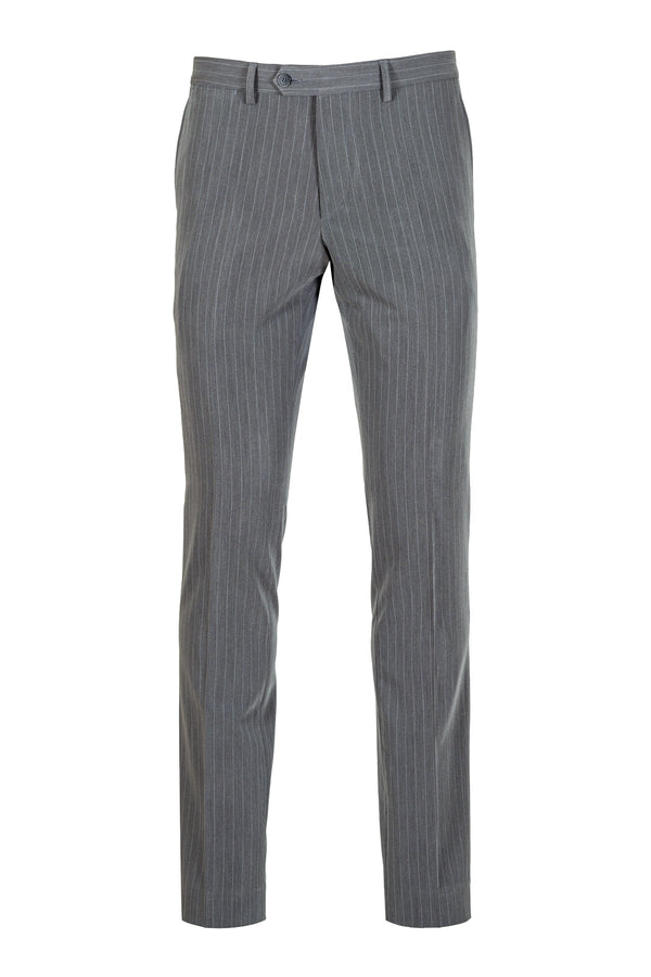 MONTEZEMOLO - Trousers - Grey Striped Tecno-Silk Trousers - MONTEZEMOLO
