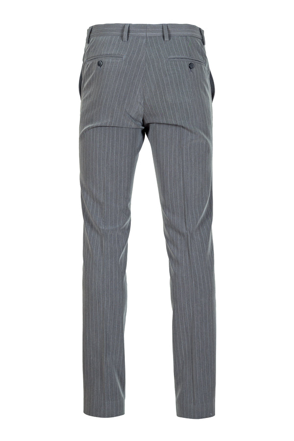 Grey Striped Tecno-Silk Trousers