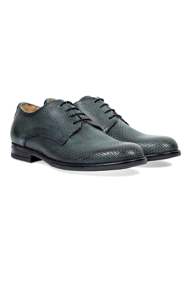 MONTEZEMOLO Men's Clothing - Lace Up Shoes - Laser Textured Leather Derby - www.montezemolostore.com