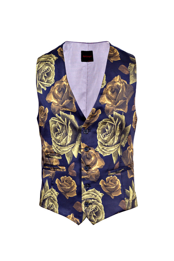 MONTEZEMOLO Men's Clothing - Vests - Floral Printed Red Carpet Waistcoat - www.montezemolostore.com